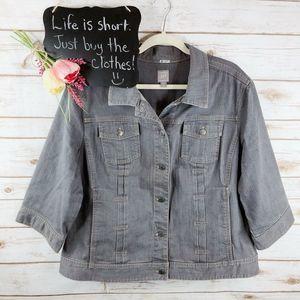 J. Jill Denim Jacket Size 2X Button Up Gray Denim